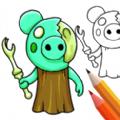 小猪上色绘画