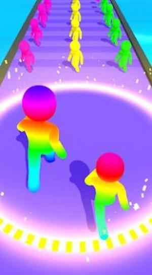 彩色跑步人群